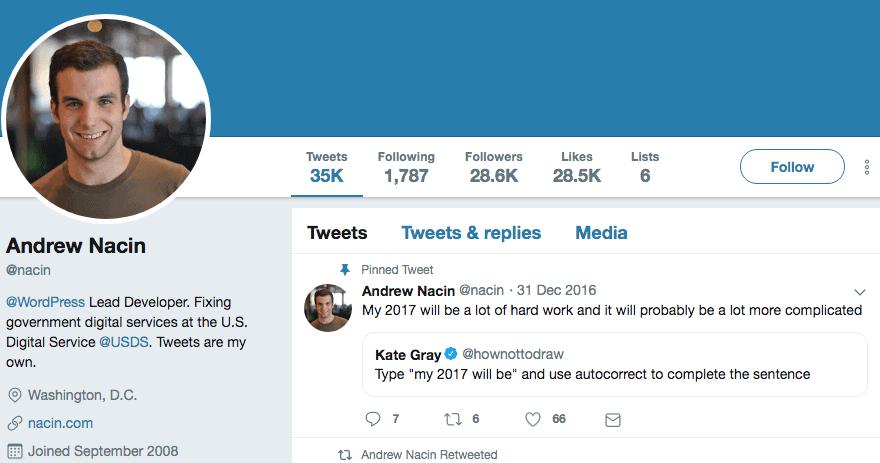 Consistent twitter Bio