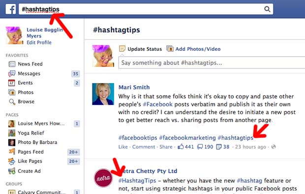 hashtags used by Competitor On Facebook