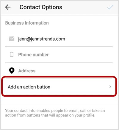 instagram add action button