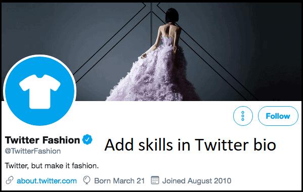 Add skills in Twitter bio