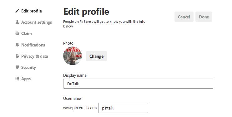 pinterest profile's URL