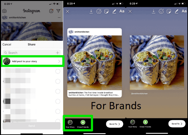 instagram brand feed share stories