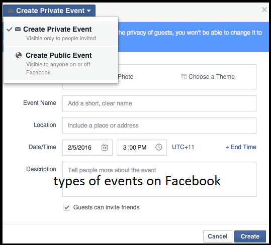 types of events on Facebooks