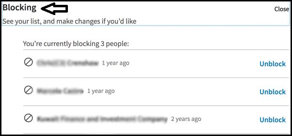 Blocking The LinkedIn Members