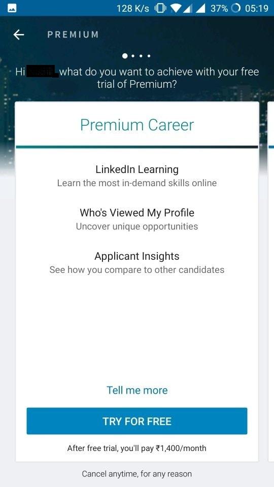 Premium Membership of LinkedIn