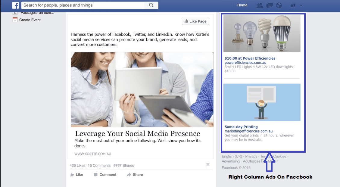 Right Column Ads On Facebook