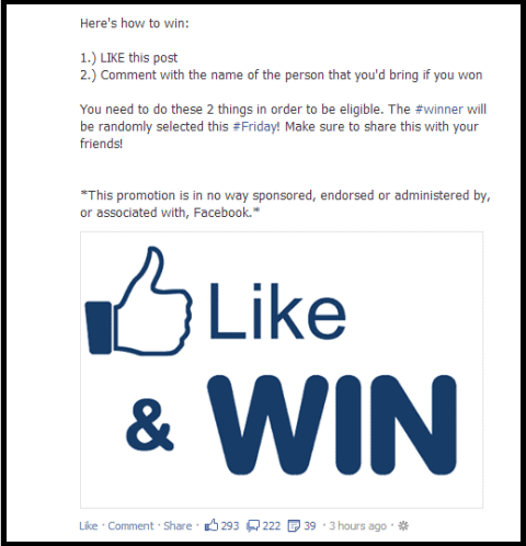 Rules of facebok contest