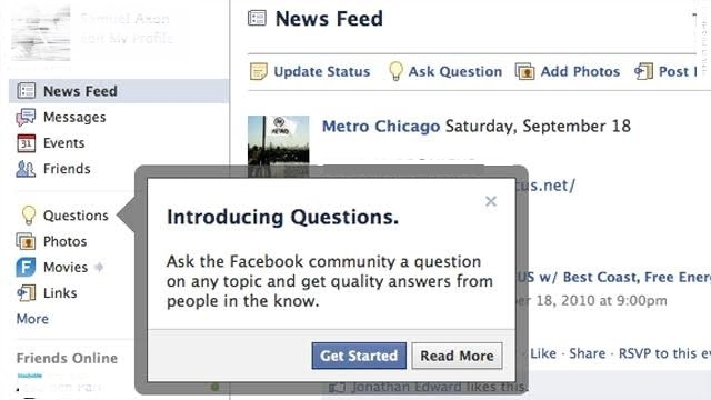questions feature on facebook