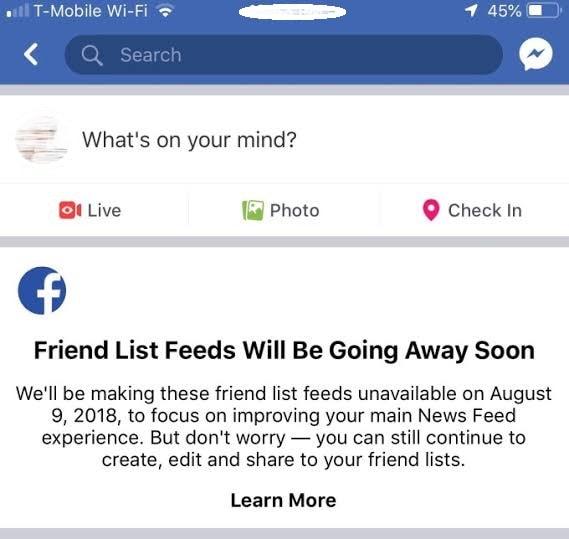 Friend List Feeds Feature
