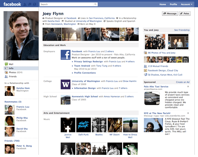 Profiles on facebook