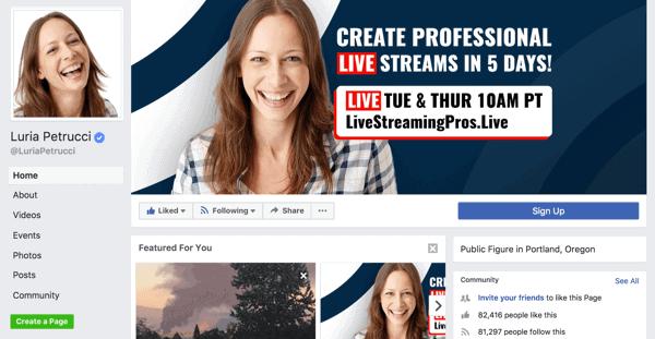Facebook Public Figure Page