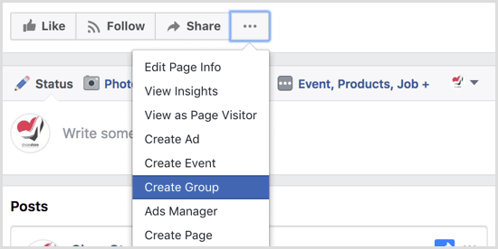 Facebook Create Group tab
