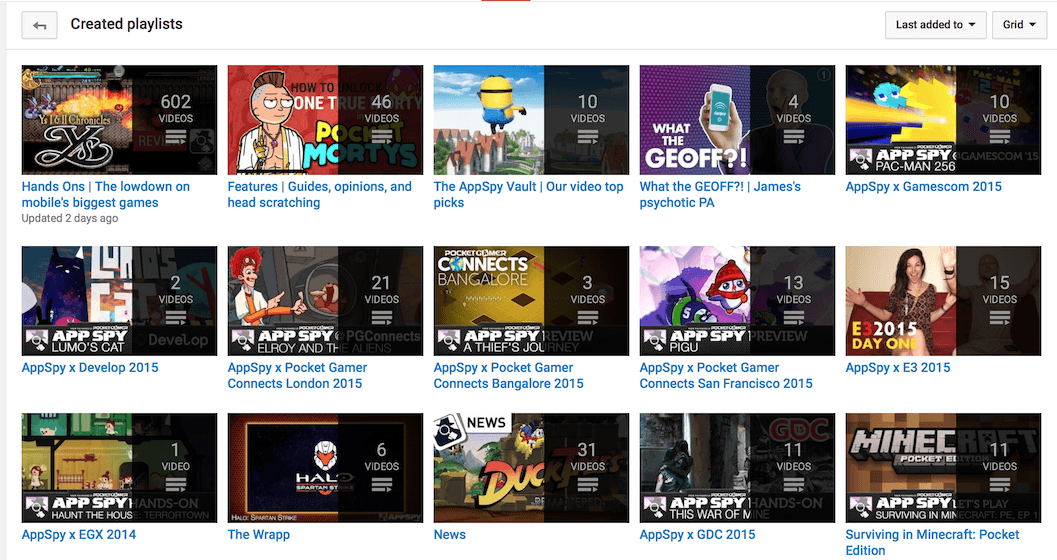 Playlists on youtube