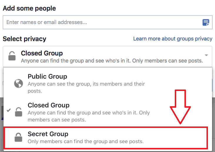 Secret Facebook Groups
