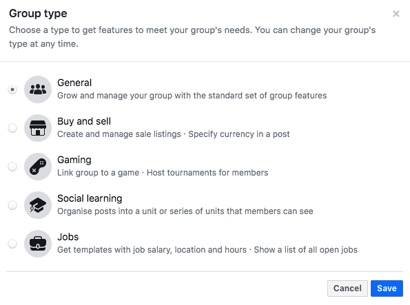 Set The Facebook Group Type