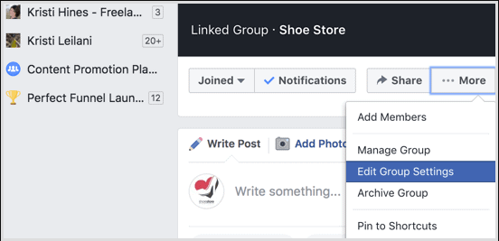 access the facebook group unit