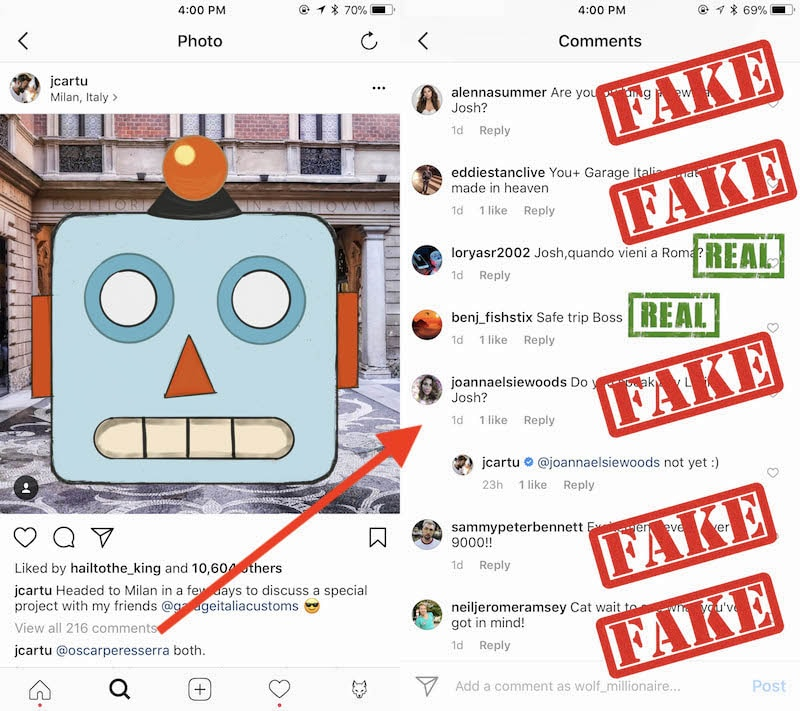 instagram Inappropriate Bot Comments