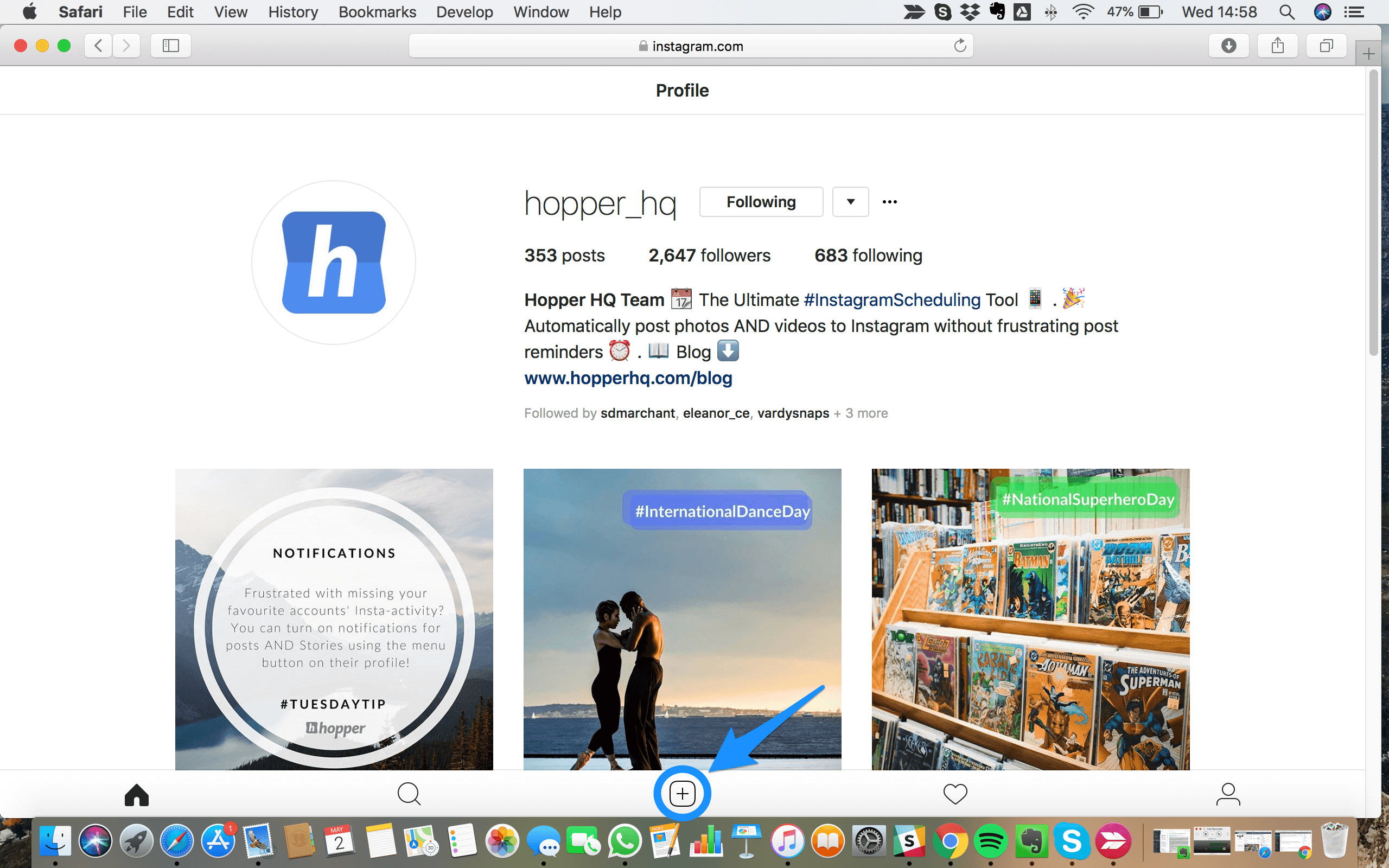 post on Instagram From your Desktop