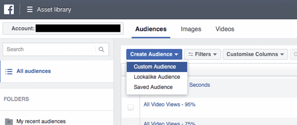 Facebook Business Manager custom audiences