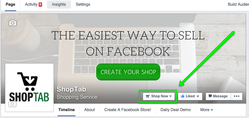 Add shop now Button to your Facebook Business Page