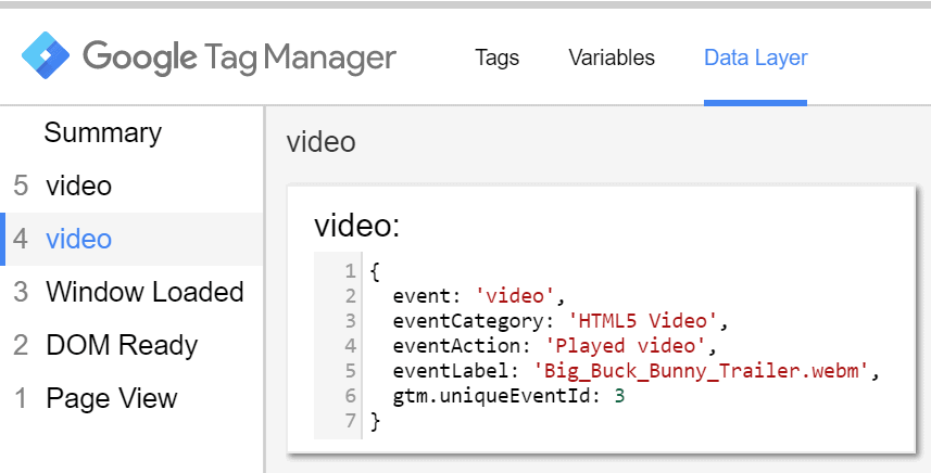 videos on google tag manager
