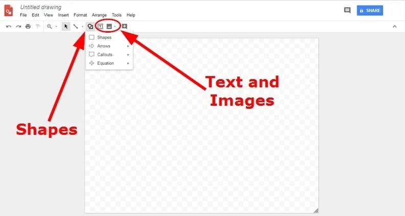 add text in google drawing