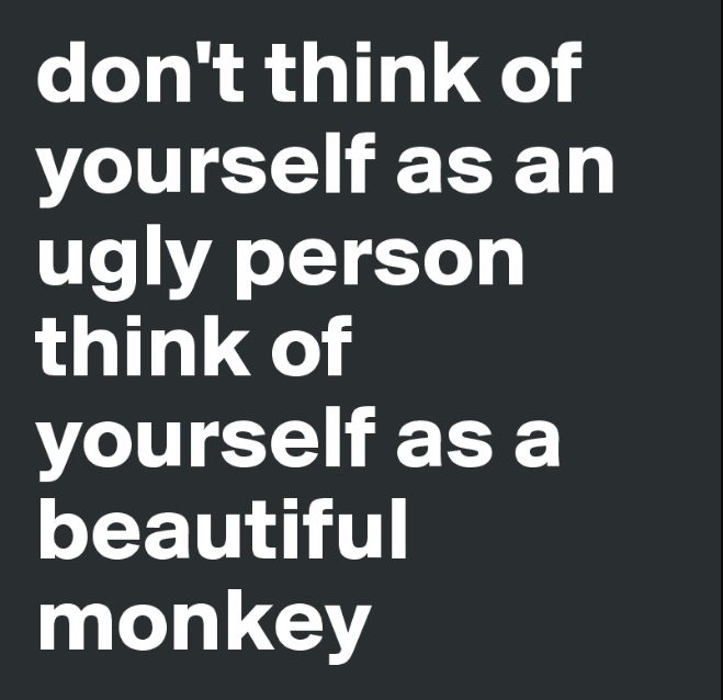 Don't think of yourself as an ugly person, think of yourself as a beautiful monkey.
