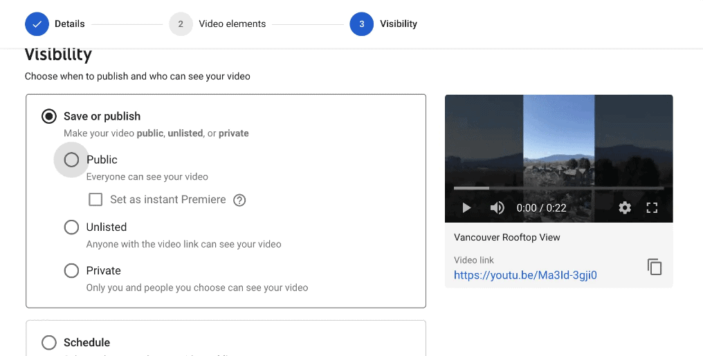 Schedule your videos