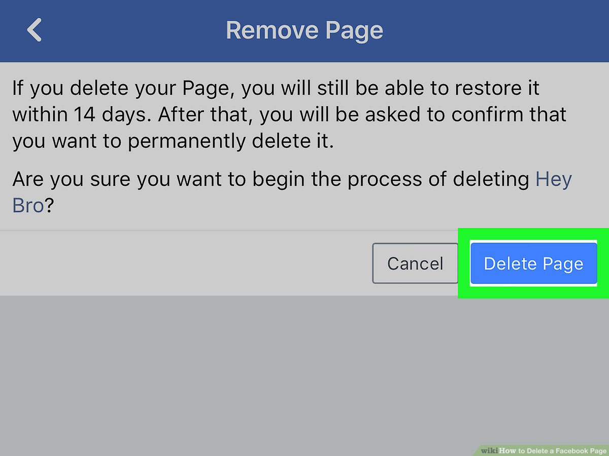 Remove the page from FBM