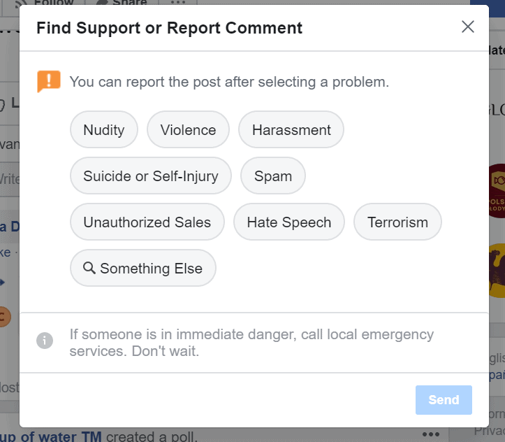 facebook comment report