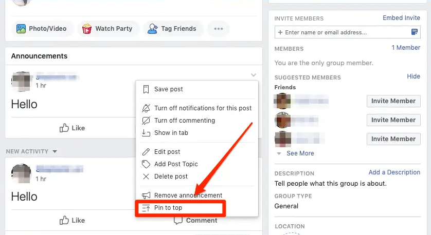 pinning on facebook