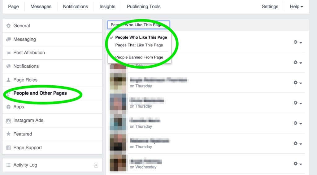 removing people from facebook page