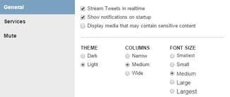 configure the settings