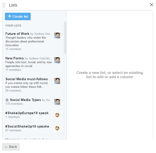 editing lists from Twitter
