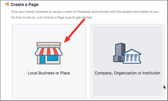 List your page as 'Local