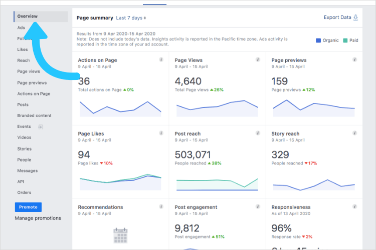 Page Summary section of Facebook Analytics