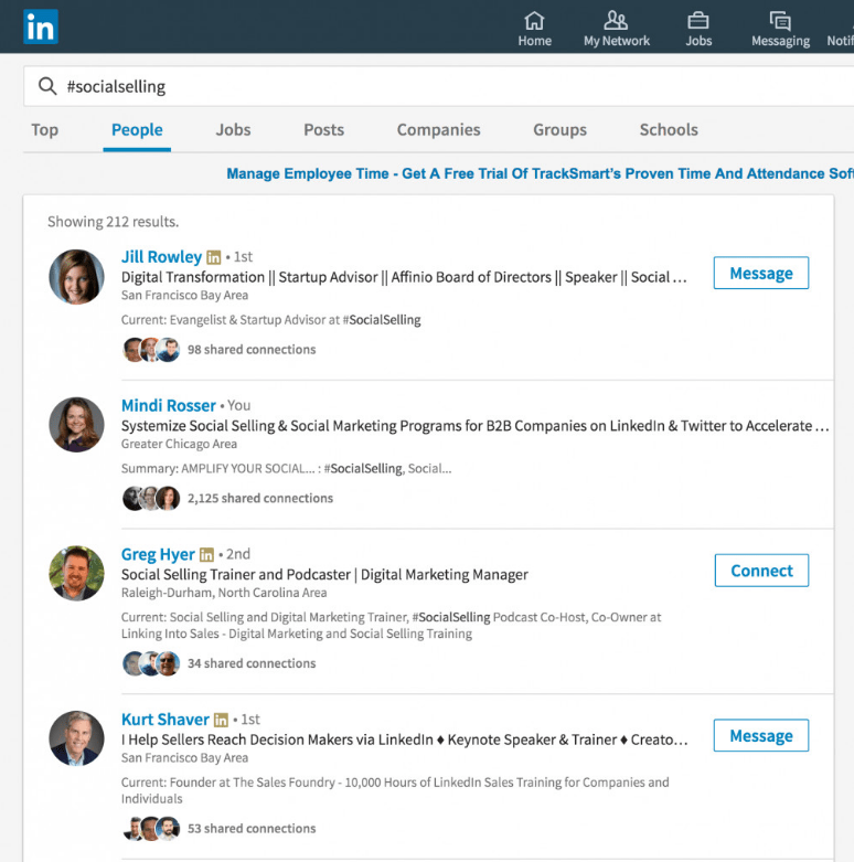 trending hashtags in your Linkedin profile