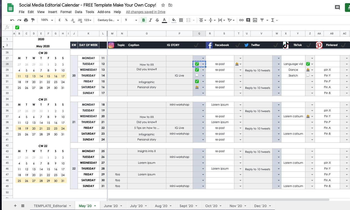 Google sheet content calendar
