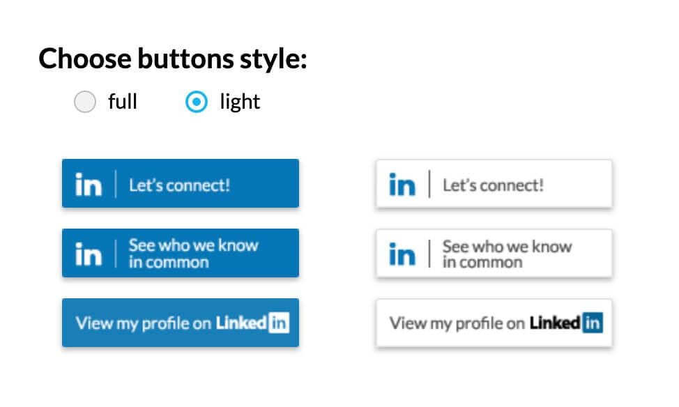 LinkedIn buttons