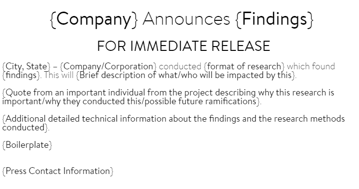 Research Findings Press Release