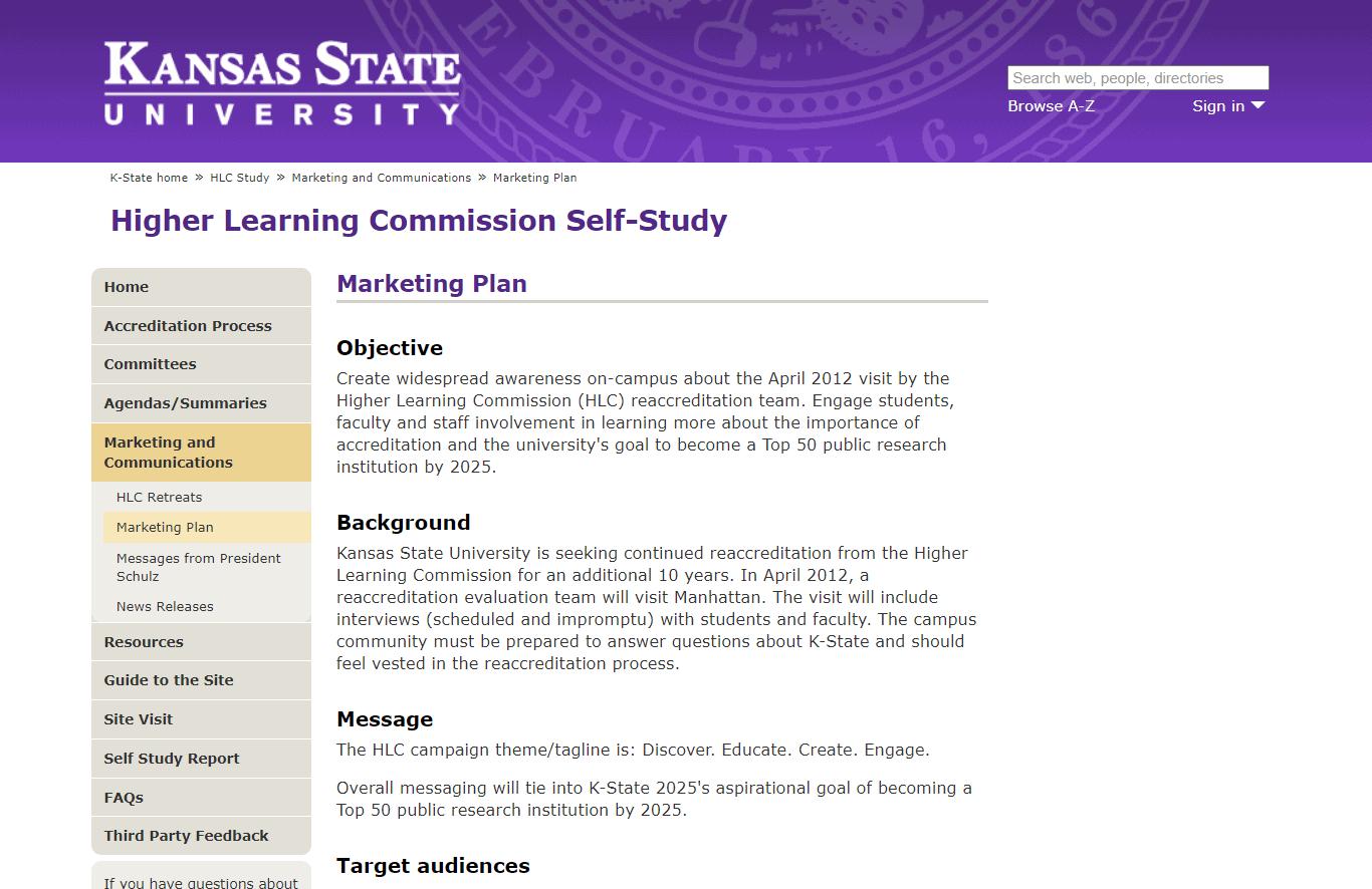 Kansas State University Marketing Plan Template
