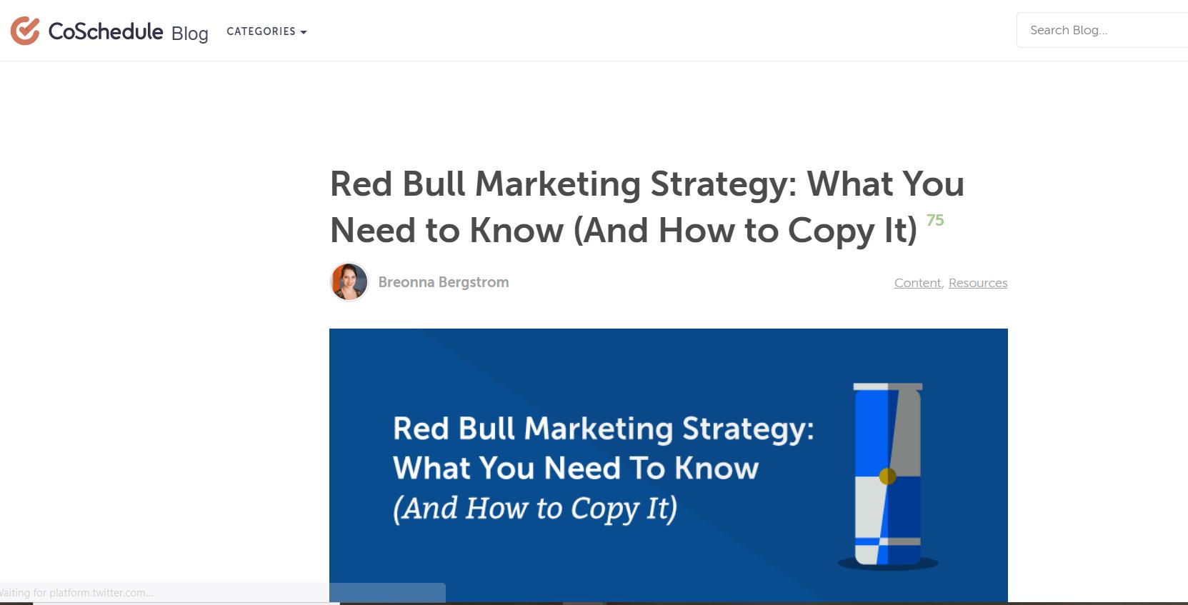 Marketing sample of Red bull