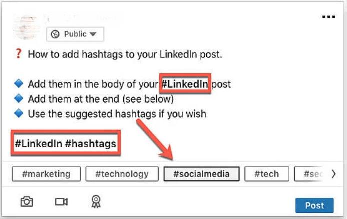 add hashtag on linkedin