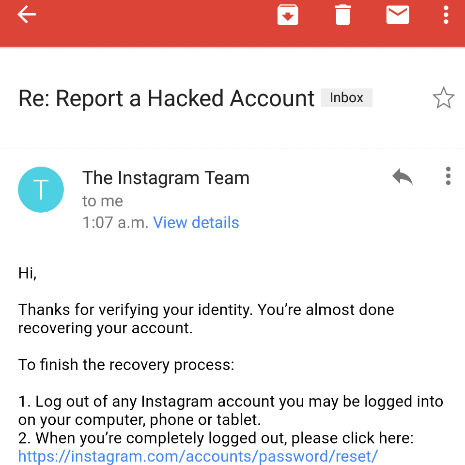 Report Your Account as Hacked