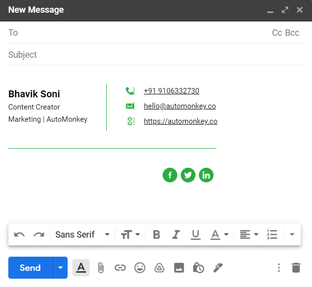Add Blog URL to Email Signature
