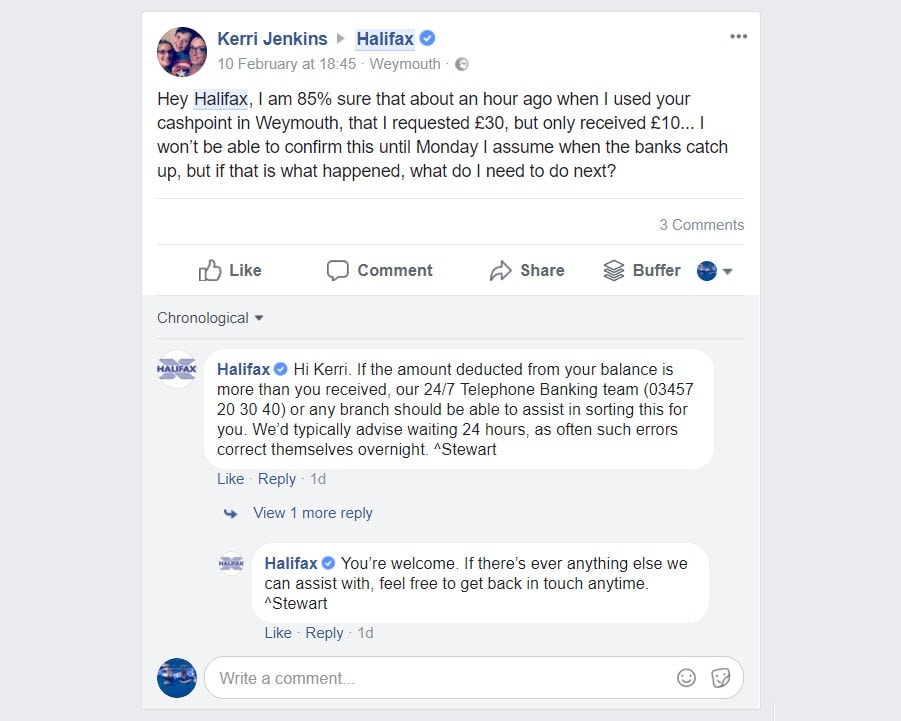 comments on your company's Facebook page