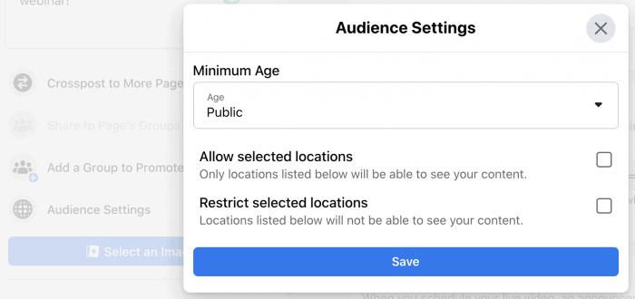 Audience Settings option