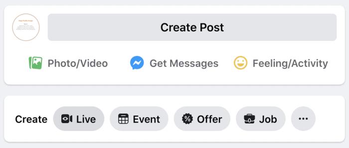 Create a Live Video option
