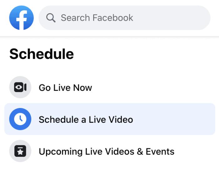 Schedule a Live Video option