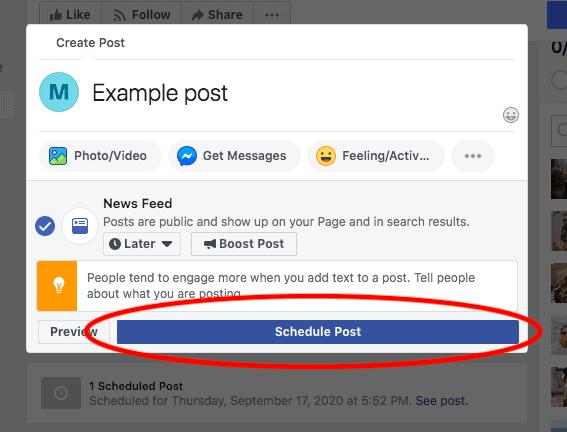 click schedule post